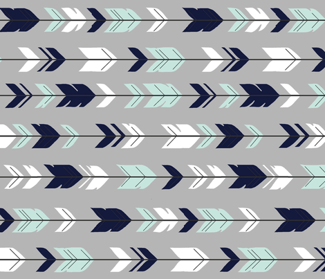 Arrow Feathers Rotated - Evenstar - navy, mint, white on grey fabric by sugarpinedesign on Spoonflower - custom fabric