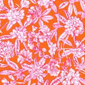 Rhodedendrons_pink_and_orange_52cm_SPOONFLOWER
