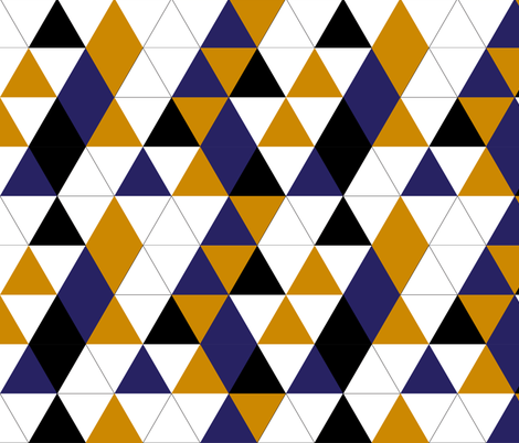 Geometric Triangles Mustard Navy fabric by smuk on Spoonflower - custom fabric
