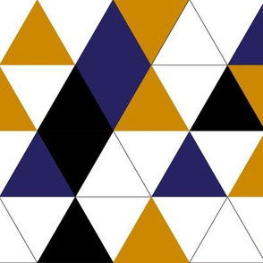 Geometric Triangles Mustard Navy