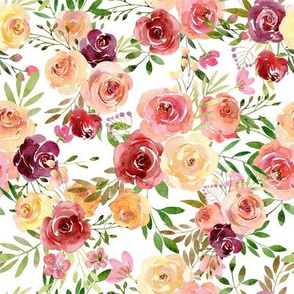 Watercolor burgundy pink yellow roses flowers on white background