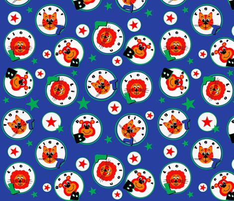 Circus Lions,Tigers & Bears -O Fun !  Blue fabric by franbail on Spoonflower - custom fabric