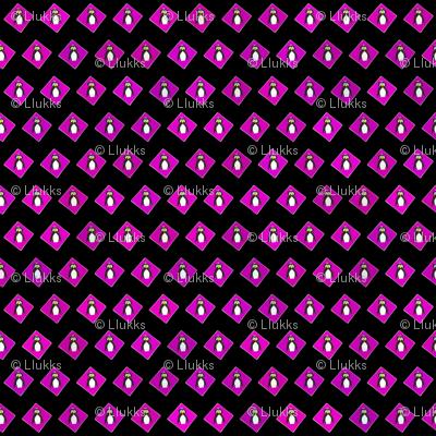 Penguins on Fuchsia Diamonds Black Upholstery Fabric