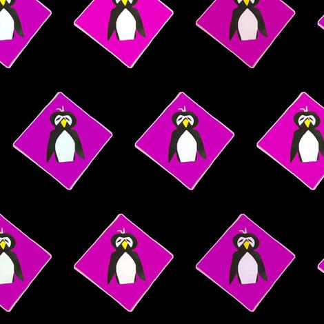 Penguins on Fuchsia Diamonds Black Upholstery Fabric fabric by llukks on Spoonflower - custom fabric