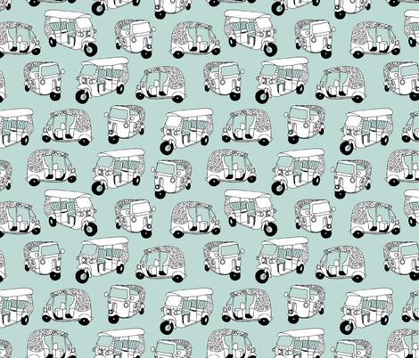 Mint blue auto rickshaw tuk tuk taxi trendy asian travel print  fabric by littlesmilemakers on Spoonflower - custom fabric