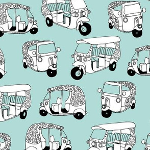 Mint blue auto rickshaw tuk tuk taxi trendy asian travel print
