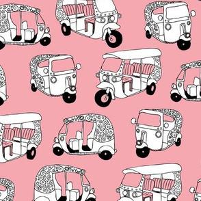 Pink auto rickshaw tuk tuk taxi trendy asian travel print
