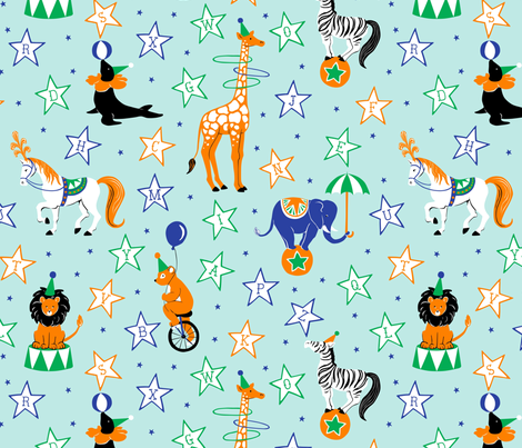 Retro Circus Animal Alphabet fabric by hazel_fisher_creations on Spoonflower - custom fabric