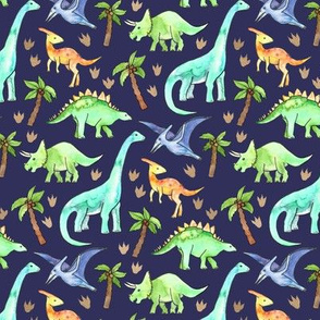 Dinosaurs on Dark Blue