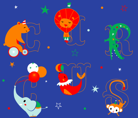 circus-animal-letter fabric by elodie-lauret on Spoonflower - custom fabric
