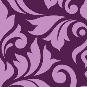 Flourish Damask Pattern Pink on Plum