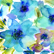 Blue watercolor flowers