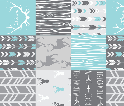Patchwork Deer- Aqua and Grey - Rotated fabric by sugarpinedesign on Spoonflower - custom fabric