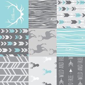 Patchwork Deer- Aqua and Grey - Rotated