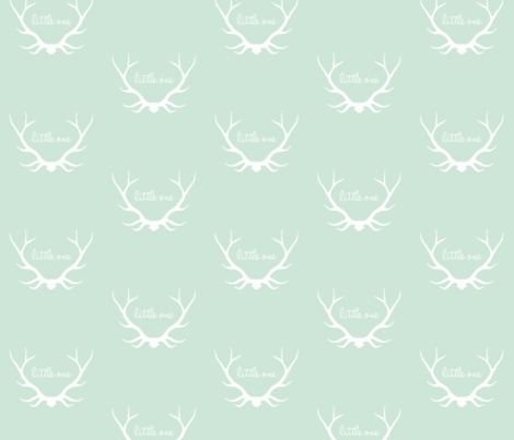 Little One Antlers - mintgreen and white fabric by sugarpinedesign on Spoonflower - custom fabric