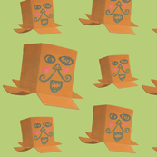 Funny painted faces on cardboard boxes pattern