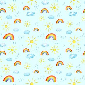 Rainbow Sun Cloud Rain on blue