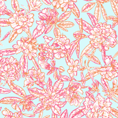 Rhodedendrons_pale_blue_and_orange_52cm_Spoonflower