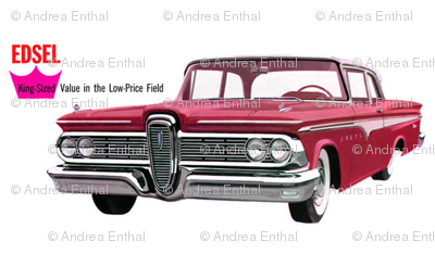 red 1959 Edsel Ranger on white background