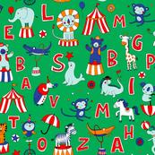 Animal Circus Alphabet - on green