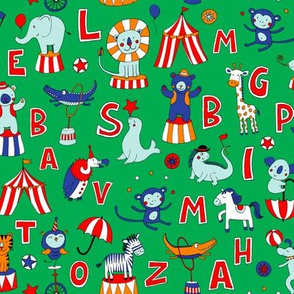 Animal Circus Alphabet - on green
