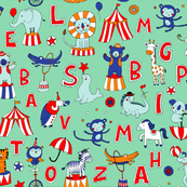 Animal Circus Alphabet - on mint stripes