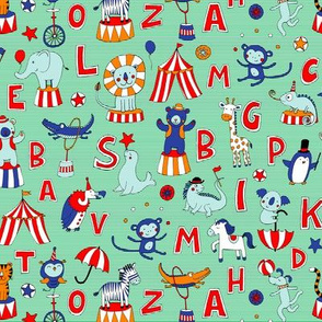 Animal Circus Alphabet - on mint stripes