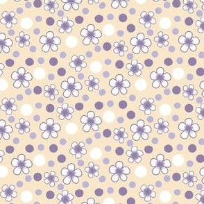 Flower Polka Dots in Violet and Khaki by Amborela