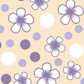 Flower Polka Dots in Violet and Khaki