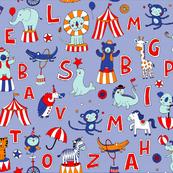 Animal Circus Alphabet - blue stripes