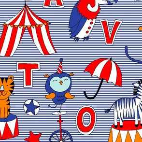 Animal Circus Alphabet - blue stripes