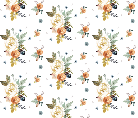 "14"" Western Autumn in White  fabric by shopcabin on Spoonflower - custom fabric"
