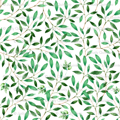 "36"" Floral Elephant / Green Leaves / 2017"