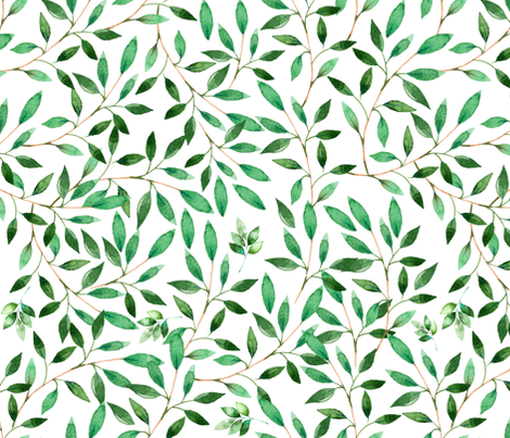 """36"""" Floral Elephant / Green Leaves / 2017 fabric by shopcabin on Spoonflower - custom fabric"""