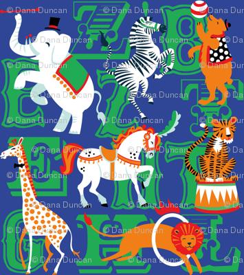 Circus Animal Alphabet in Cobalt Blue
