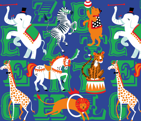 Circus Animal Alphabet in Cobalt Blue fabric by pinkowlet on Spoonflower - custom fabric