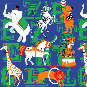 Circus Animal Alphabet in Cobalt Blue