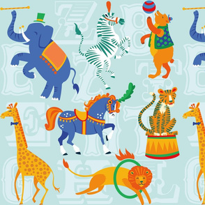 Circus Animal Alphabet in Powder Blue