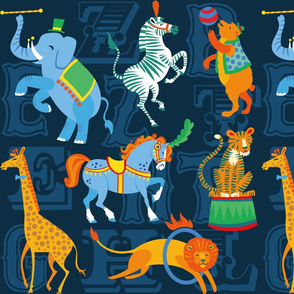 Circus Animal Alphabet in Dark Blue