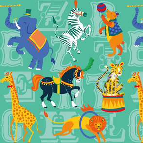 Circus Animal Alphabet in Teal