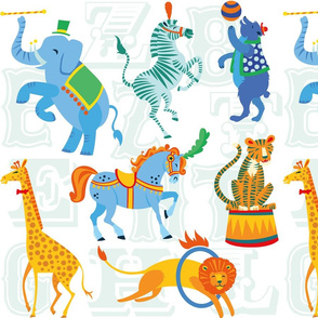 Circus Animal Alphabet in White