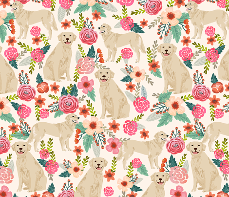 golden retriever floral fabric dogs floral design cream fabric by petfriendly on Spoonflower - custom fabric