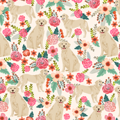golden retriever floral fabric dogs floral design cream