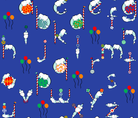 Poodle Circus Alphabet fabric by cdesignr on Spoonflower - custom fabric