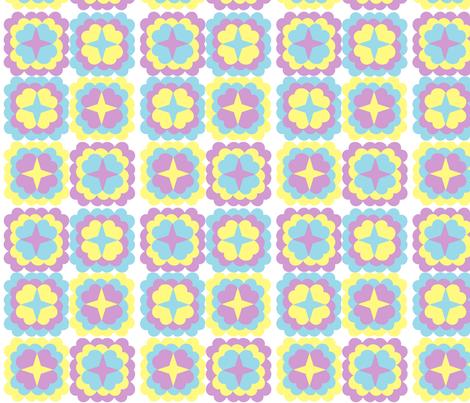 Lavender_Blue_Yellow_Retro_Flowers fabric by hobbitrosie on Spoonflower - custom fabric