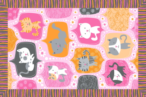 Kitty Minky Blanket fabric by bzbdesigner on Spoonflower - custom fabric