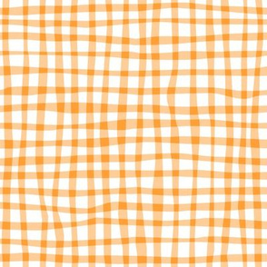 Gingham Peach on White