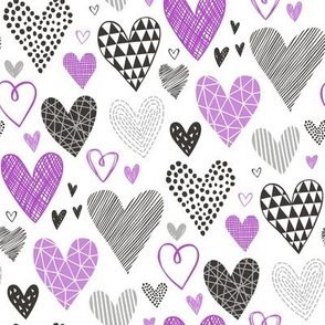 Hearts Geometrical Love Valentine Black&White Purple
