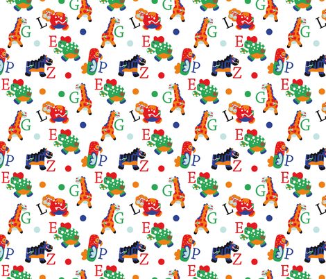 Big Five Animal Alphabet fabric by colorofmagic on Spoonflower - custom fabric