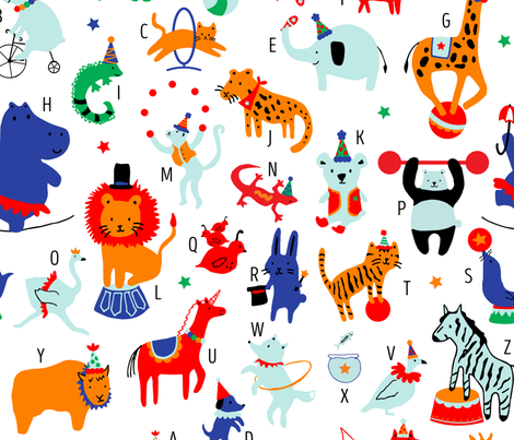 Circus Animals fabric by digidivagraphics on Spoonflower - custom fabric